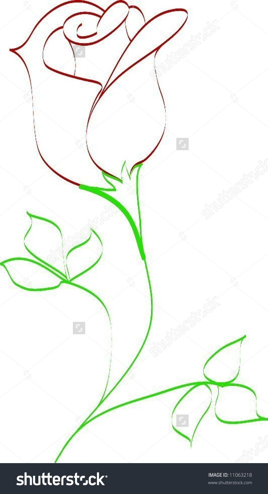 How To Draw A Rose Bud : Simple, Drawing, Stock, Vector, Illustration, 11063218, Flower, Drawing,, Roses, Drawings