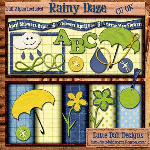 Rainy Daze  Digital Scrapbooking Kit by Latte Dah Designs