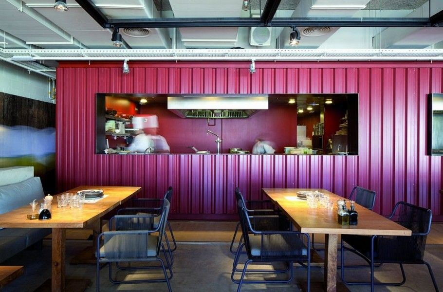 Enticing the colorful kitchen design of restaurant listed for Kitchen gadgets barcelona