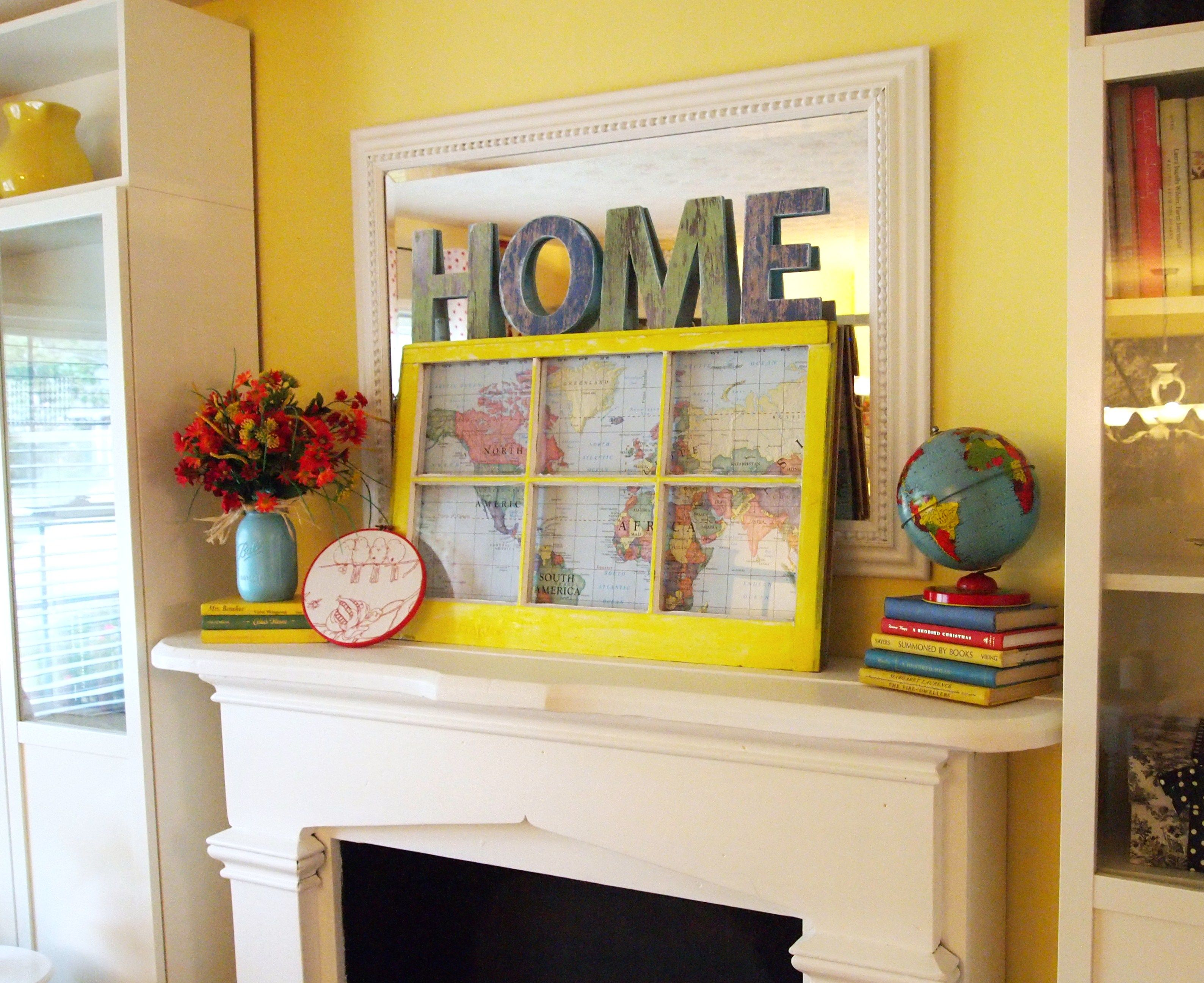 A Pretty & Frugal August Fireplace Mantle | Fireplace mantles ...