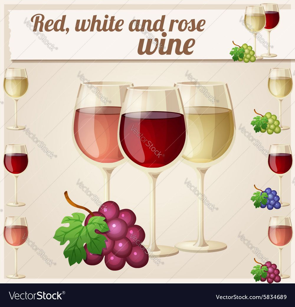 Red White And Rose Wine In Glasses Detailed Vector Image On Vectorstock In 2020 Rose Wine Wine Red And White Roses