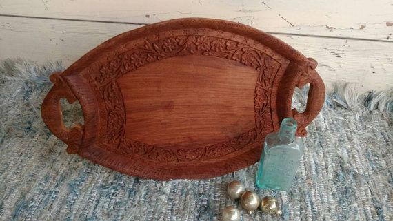 Wooden Decorative Trays Fair Vintage Handcarved Sheesham Wood Tray  Home Decor  Retro Wooden Review