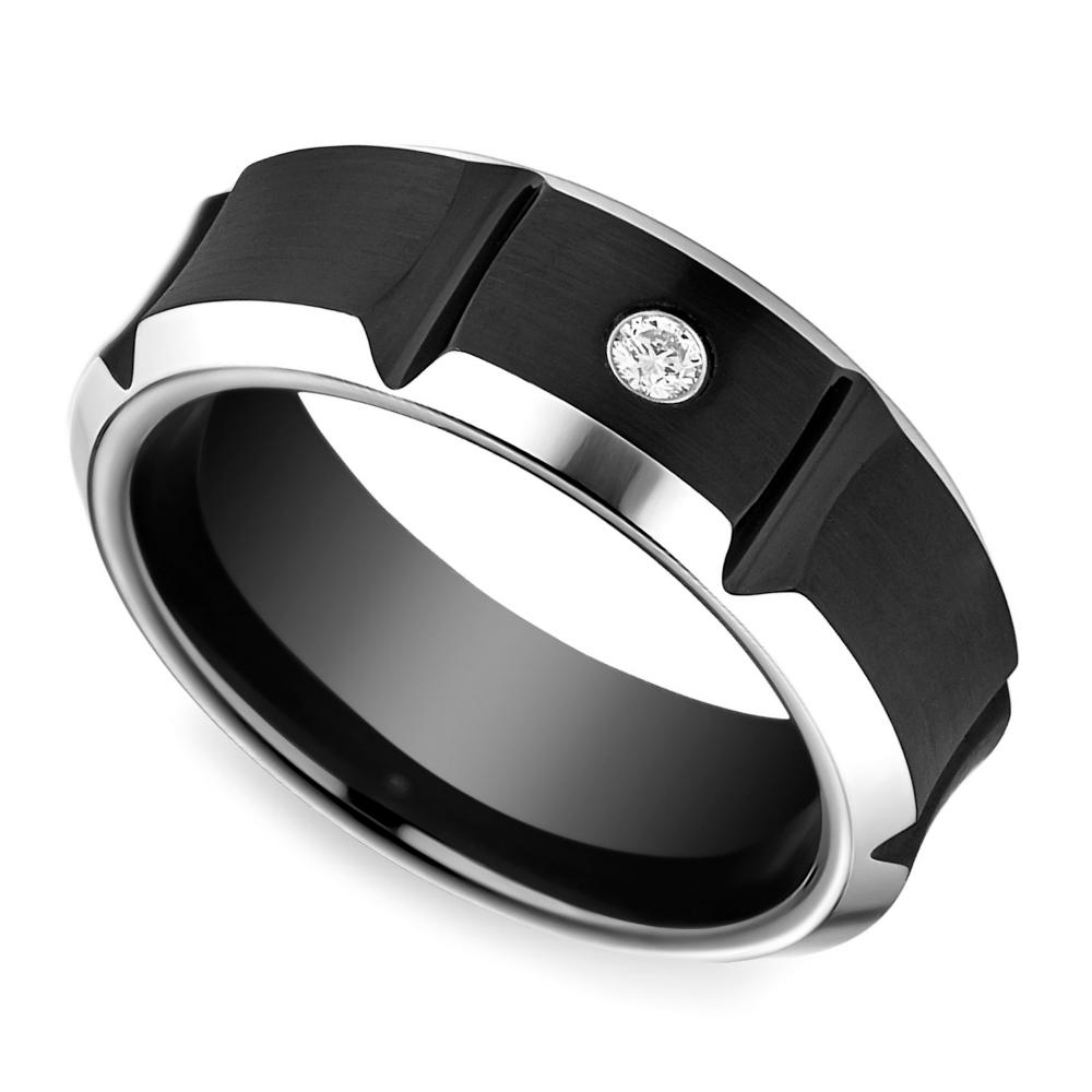 Beveled Diamond Men's Wedding Ring in Blackened Cobalt