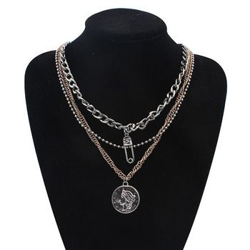 New Vintage Silver and Gold Chain Multi-layer Necklaces 2015 Fashion Coin Choker Necklace Women Statement Jewelry Zora
