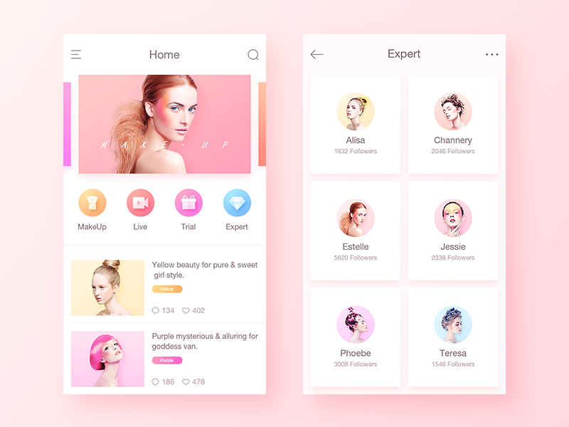 Beauty App App design, Mobile app design, Makeup app