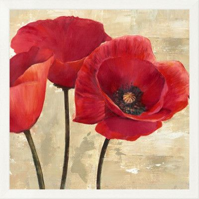 "Global Gallery 'Red Poppies II' by Cynthia Ann Framed Painting Print on Canvas Size: 26"" H x 26"" W x 1.5"" D"