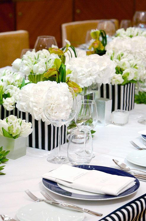 How Elegant Are Tulips And Hydrangeas In Navy Blue And White Containers We Love This Idea For A Nau Low Wedding Centerpieces White Flower Pot Low Centerpieces