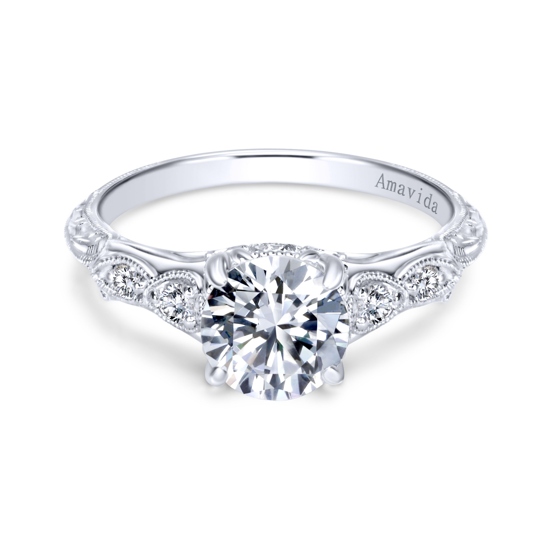 Vintage 18k White Gold Round Straight Diamond Engagement