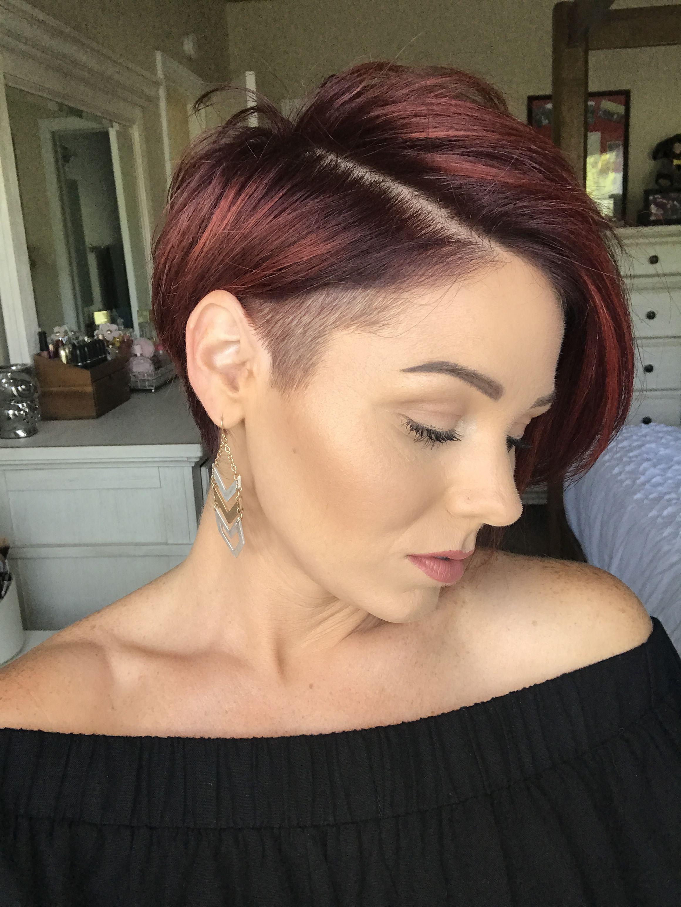 Undercut pixie asymmetrical shorthair redhair i like it