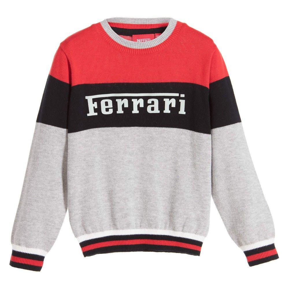 FERRARI Boys Grey Cotton Knitted Logo Sweater | Smart shirts, Baby boy shorts, Boys t shirts