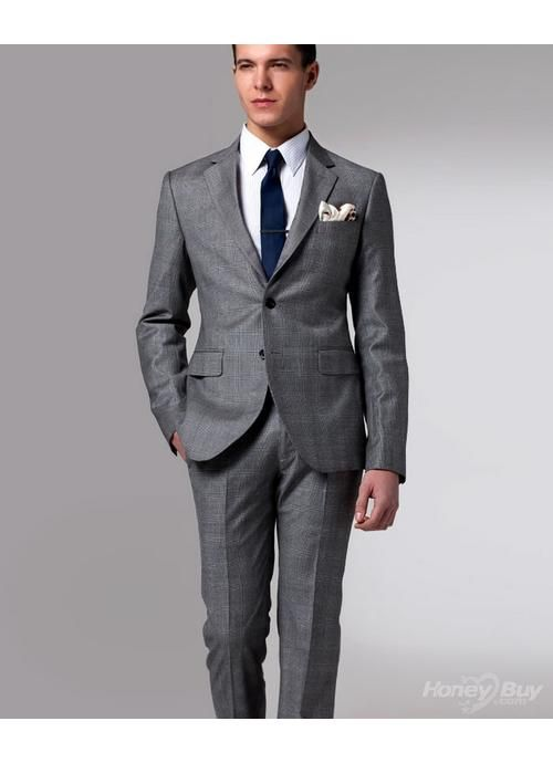 Inexpensive Grey New Style Cheap Two Buttons Business Suits Formal ...