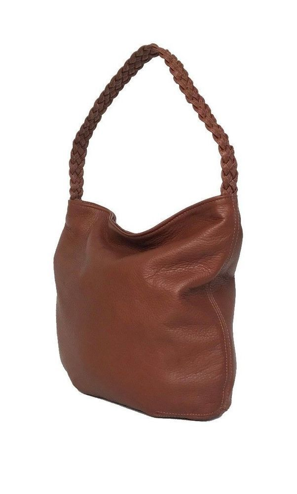 ee80fe2886c4 Brown Tan Leather Bag With Braided Handle