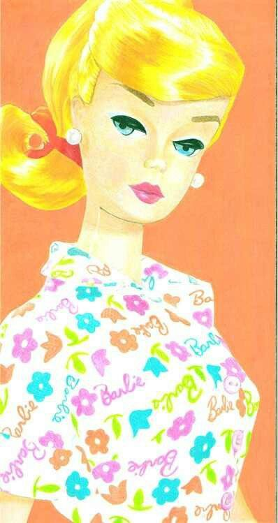 "Vintage Barbie Learns To Cook ART #1634 (1965) ""Barbie"" Print Dress"