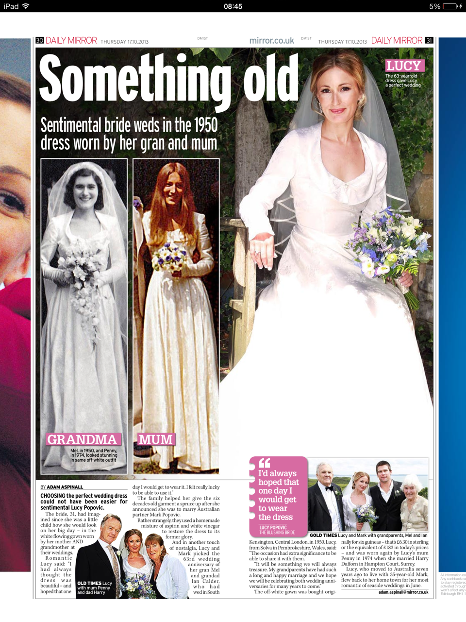 Daily Mirror spread by Harriet Sime