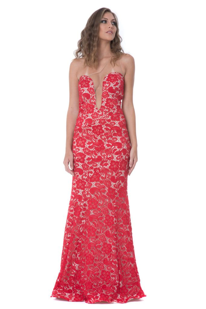 1848aab539 Red Lace - Vestido longo modelo sereia em renda vermelha com forro nude