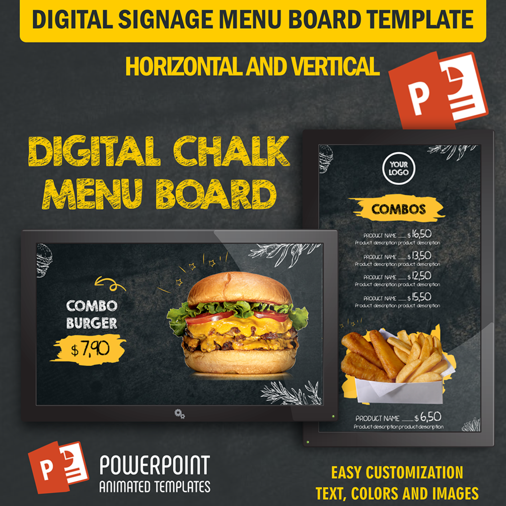 Chalk Menu - Digital Signage PowerPoint Animated Template (Food Menu Board)