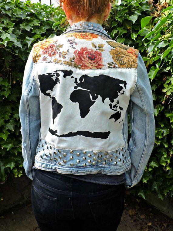 Floral world map patched studded upcycled womens blue distressed floral world map patched studded upcycled womens blue distressed denim jacket uk size 12 gumiabroncs Choice Image