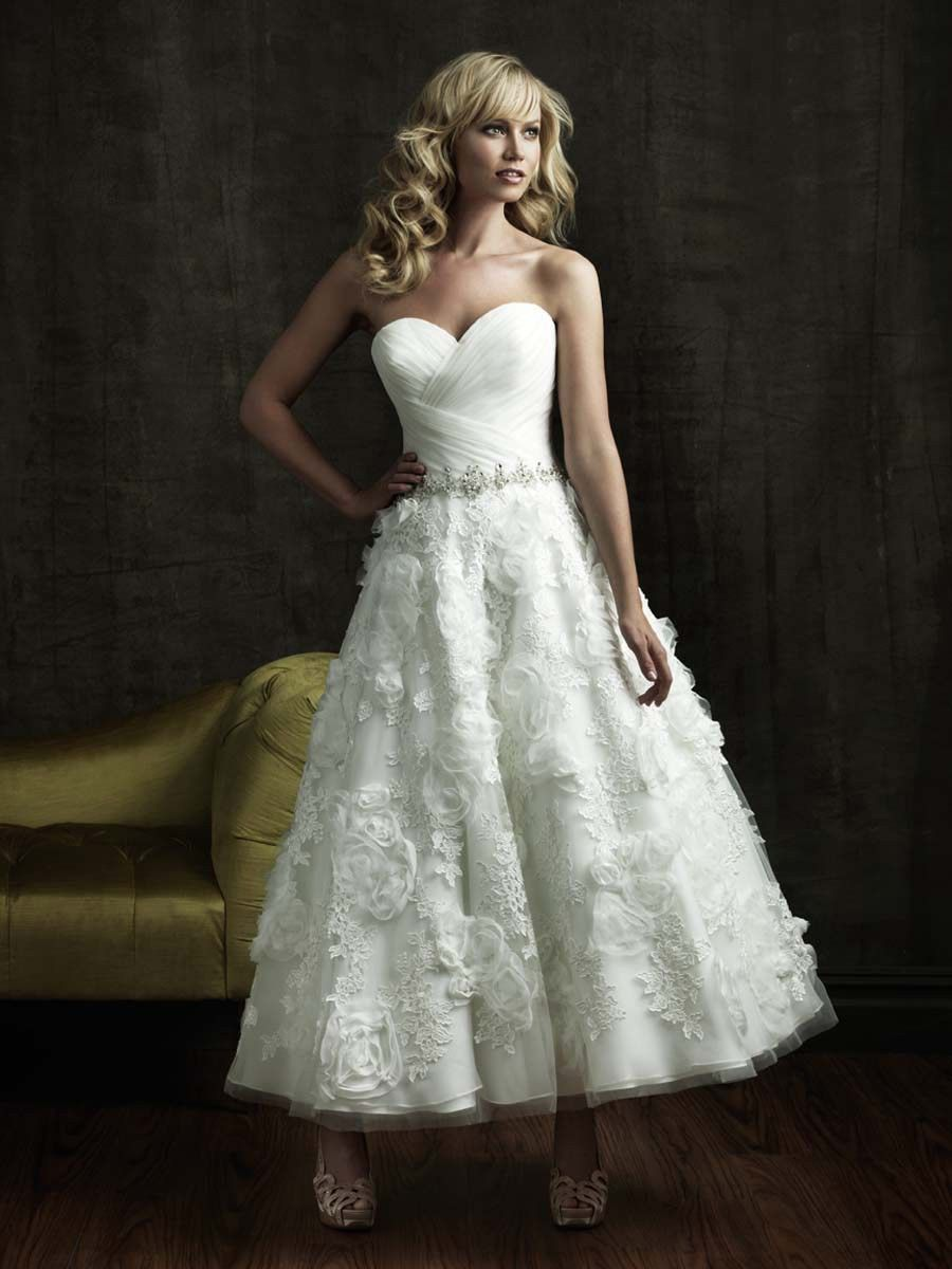 lace ankle length wedding dress