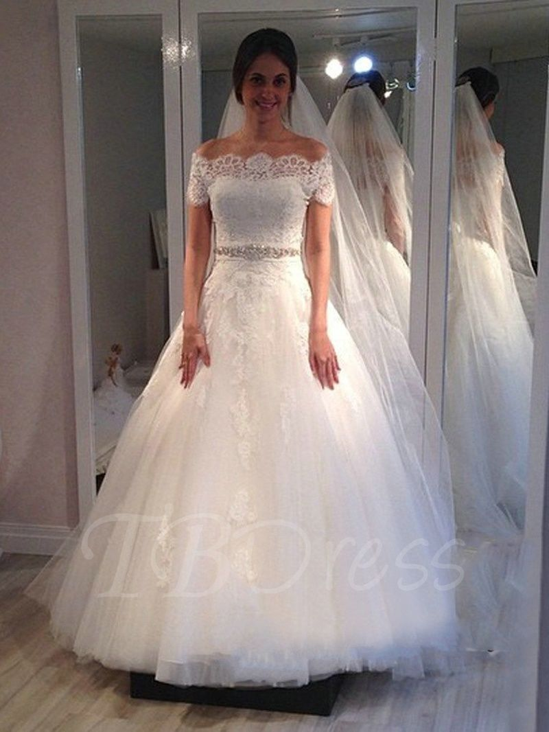 Off Shoulder Short Sleeves Lace Appliqued Crystal Wedding Dress Applique Wedding Dress White Bridal Gown Ball Gowns Wedding [ 1066 x 800 Pixel ]