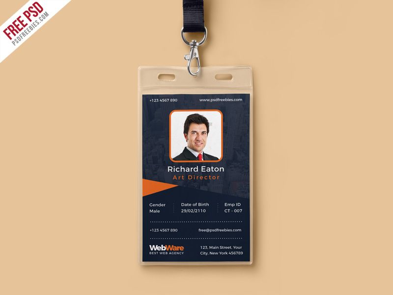 Nice Vertical Company Identity Card Template PSD Download Free - id card psd template