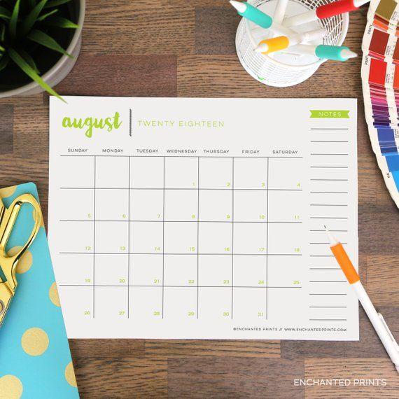 Printable 2018-2019 Academic Calendar - 16 Month Calendar - 2018