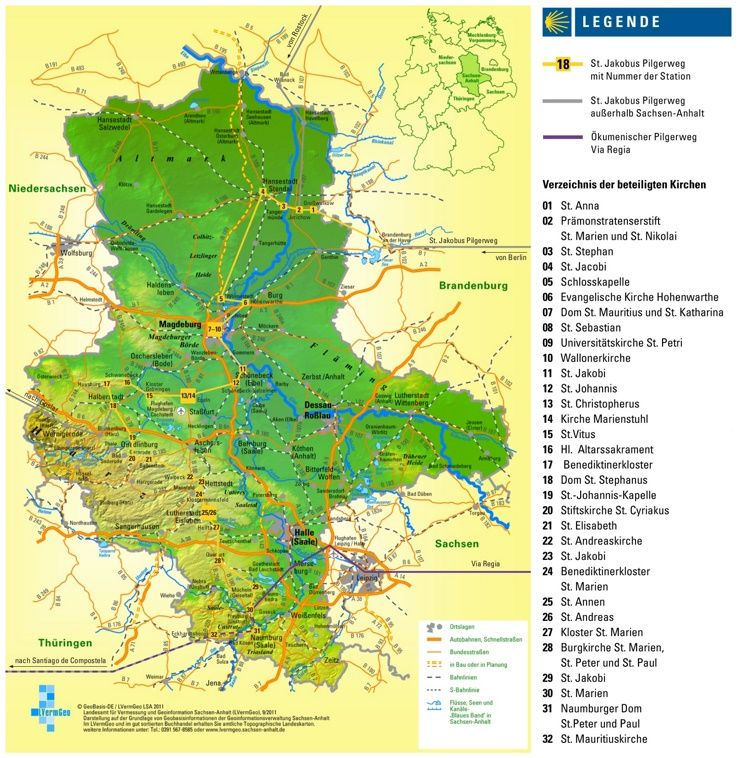 Large detailed map of SaxonyAnhalt Maps Pinterest Saxony anhalt