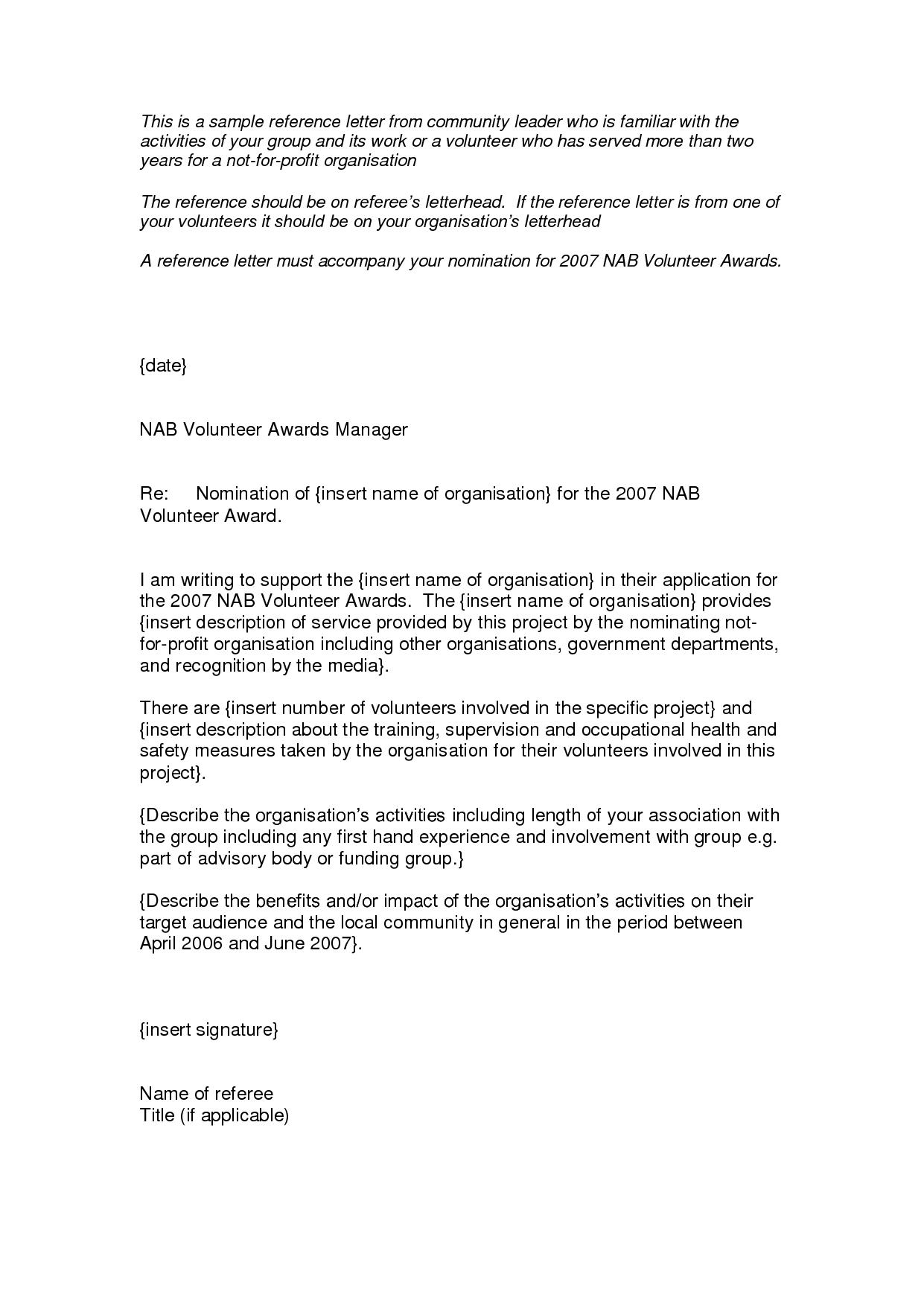 Volunteer Service Award Letters Nomination Letter Acceptance