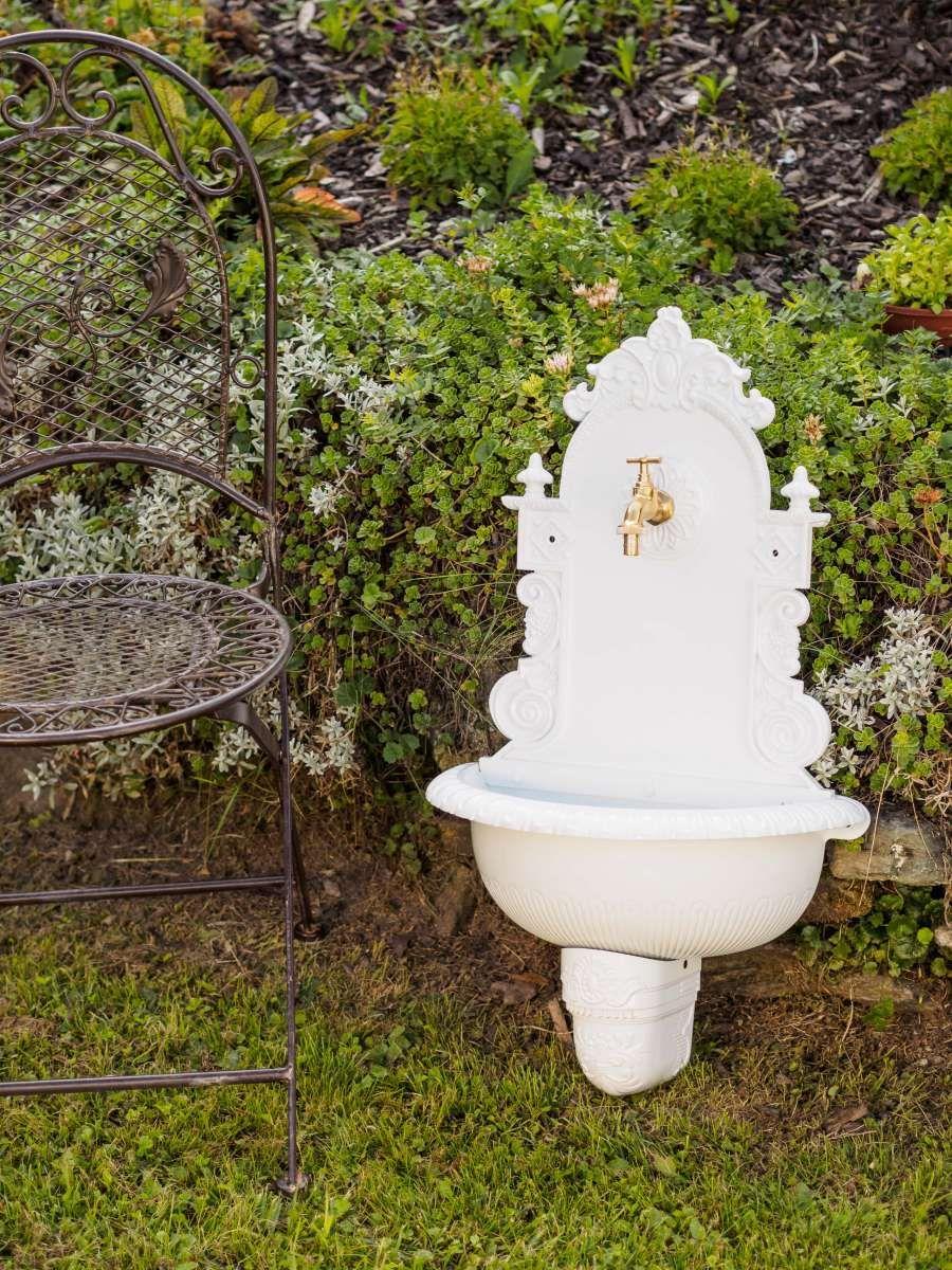 Waschbecken Wandbrunnen Wein Garten Alu Weiss Antik Stil Brunnen Waschplatz Bad Wandbrunnen Brunnen Wein Garten