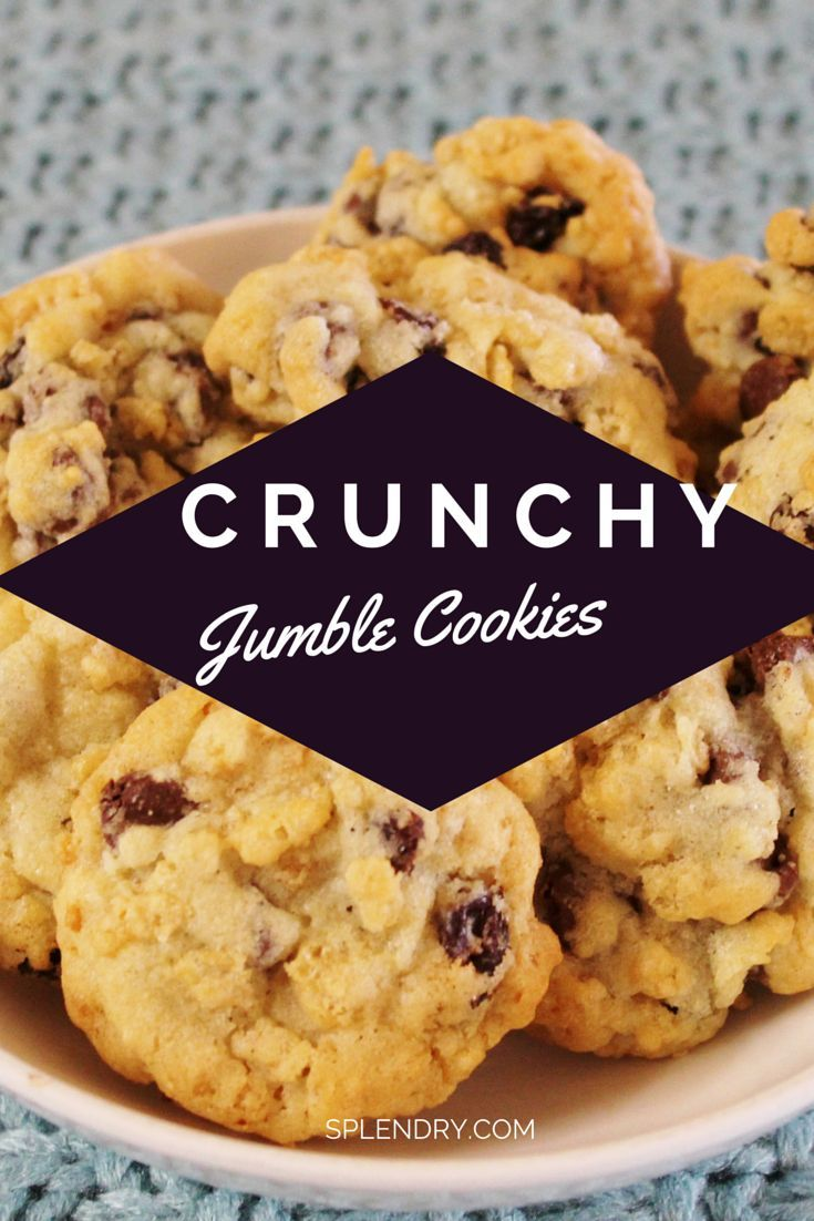 Not another chocolate chip cookie recipe! These Crunchy Jumble Cookies are light and delicious! (Not to mention addicting!)