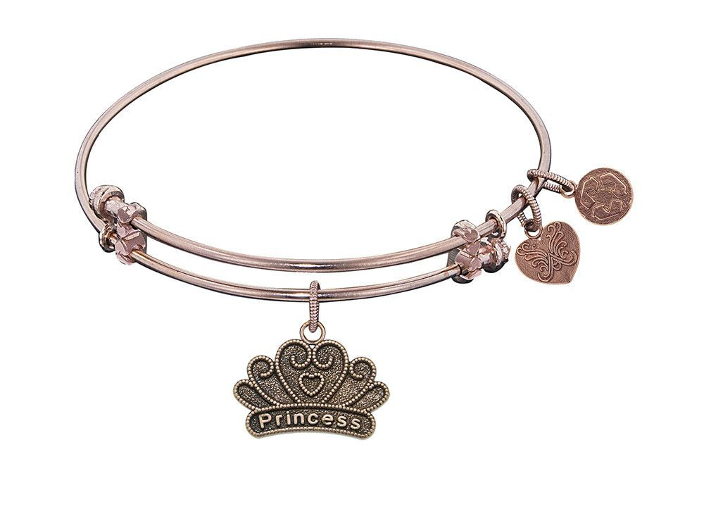 "Angelica Collection Antique Pink Stipple Finish Brass ""princess"" Expandable Bangle"