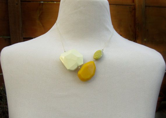 Bright Yellow Necklace, Statement Necklace, Lemon Chrysoprase Necklace, Genuine Green Turquoise Jewelry, Faceted Necklace, Sterling Silver #design #etsyretwt