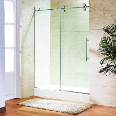 Vigo Elan 48 In X 79 7 In Frameless Bypass Shower Door In Stainless Steel With Clear Glass And White Sliding Shower Door Shower Doors Clear Glass Shower Door