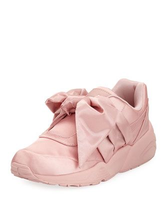 Trinomic+Knotted+Bow+Satin+Sneaker,+Silverpink+by+Fenty+Puma+by+Rihanna+at+Neiman+Marcus.