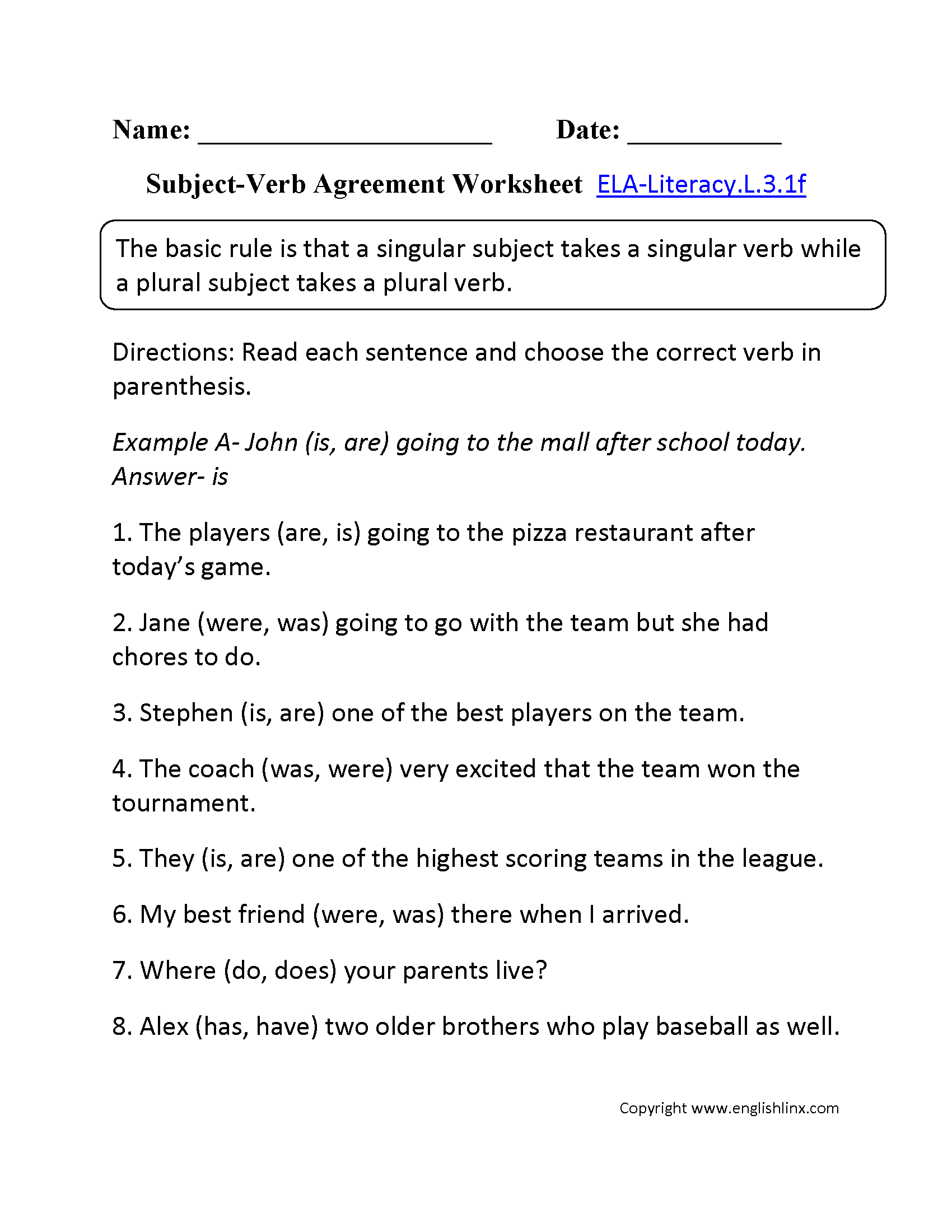 Subject Verb Agreement Worksheet 2 L 3 1