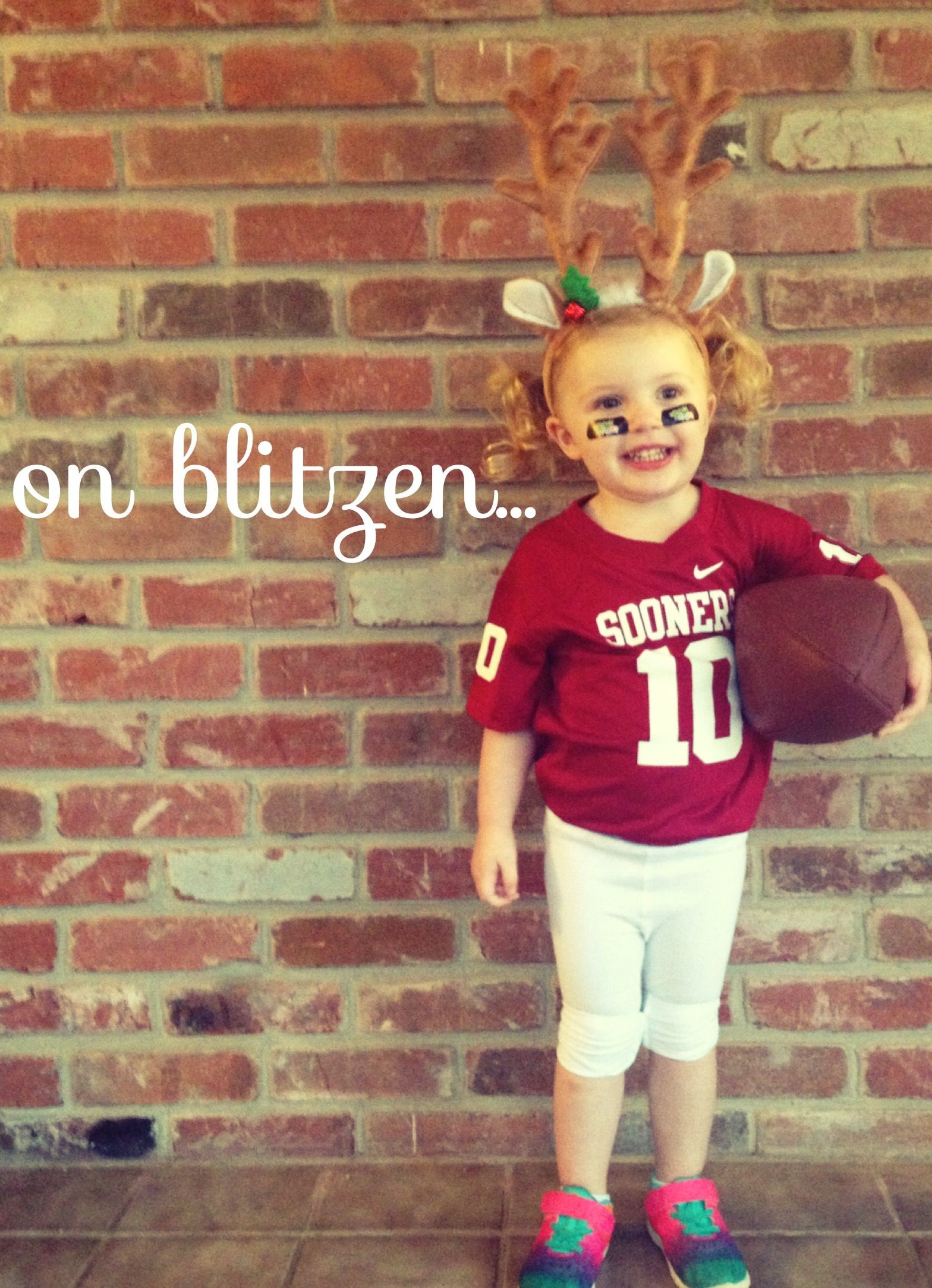 Blitzen - you better be ready for the blitz! Blitzen is Santa's defensive player of the year, holding the record for most sacks - TOY sacks, that is!