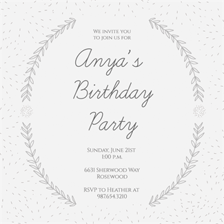 Laurel Arcs Printable Invitation Template Customize Add Text