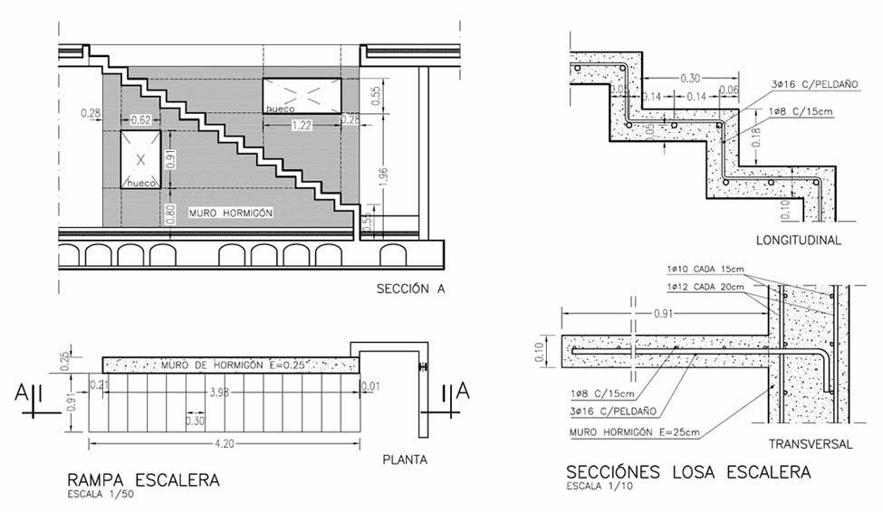 Construcci n de una escalera volada ad arquitectura for Planos de escaleras de hierro