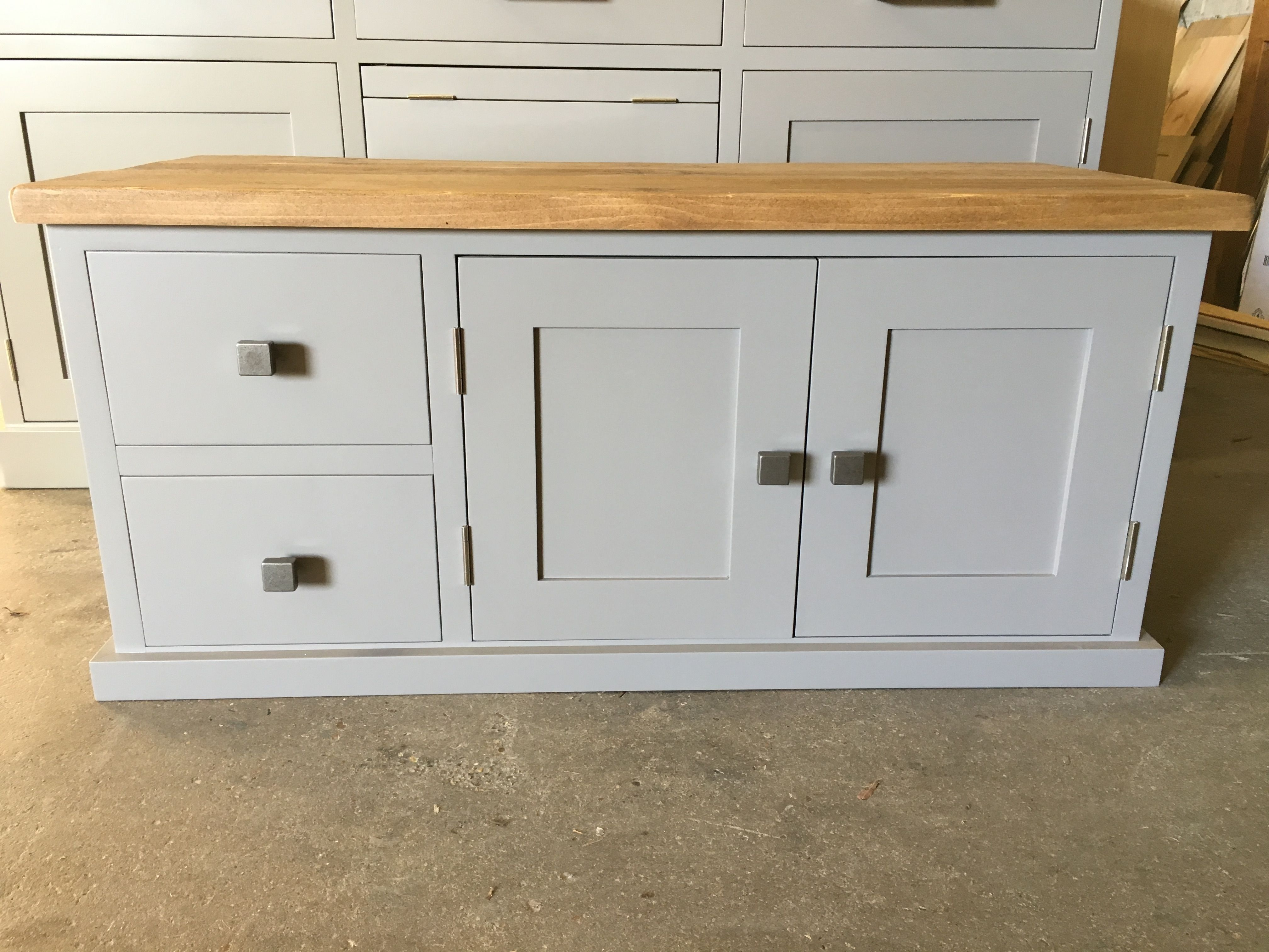 Bespoke Hall Under Stairs Sideboard. Painted In Fu0026B Charleston Gray With  Chunky Telford Knobs.