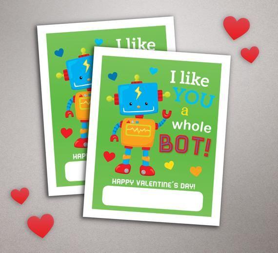 robot valentine card i like you a bot school valentine