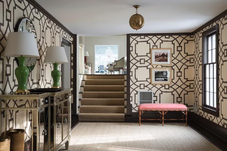astonishing black entrance hallway furniture | Amazing sunken foyer features walls clad in Michael Devine ...