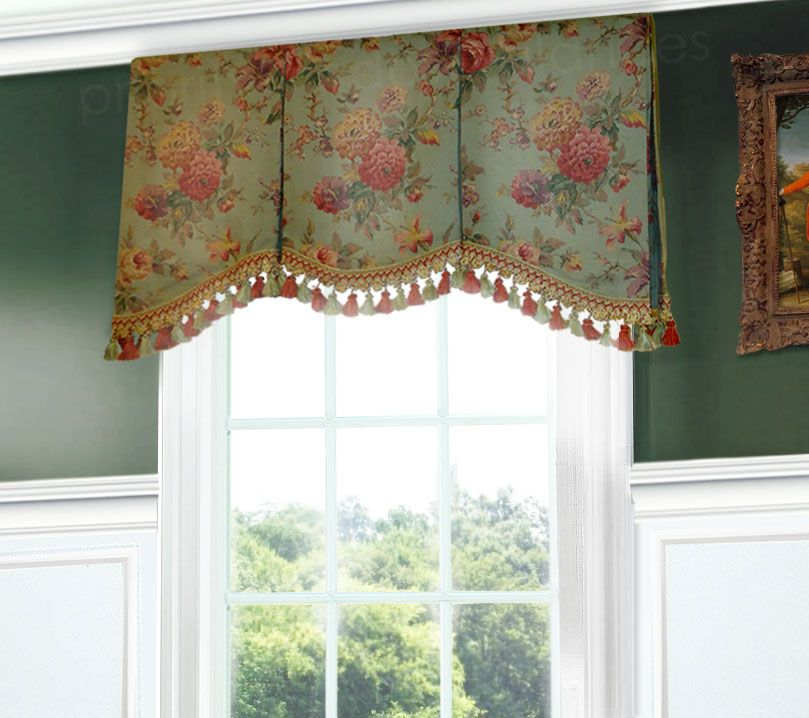 Green and pink rose shaped box pleat valance on a board for Window valance box