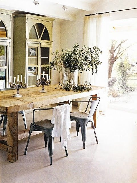 French Country Style Dining Space Trestle Table Tolix Chairs Green Armoires