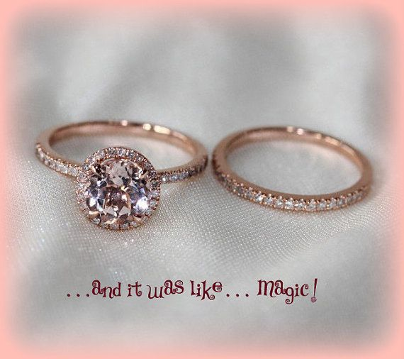 round morganite in a 14k rose gold diamond halo setting with matching diamond band. Black Bedroom Furniture Sets. Home Design Ideas