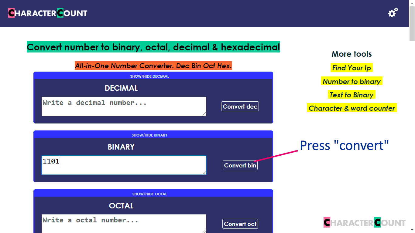 Decimal To Binary Octal And Hexadecimal Tool