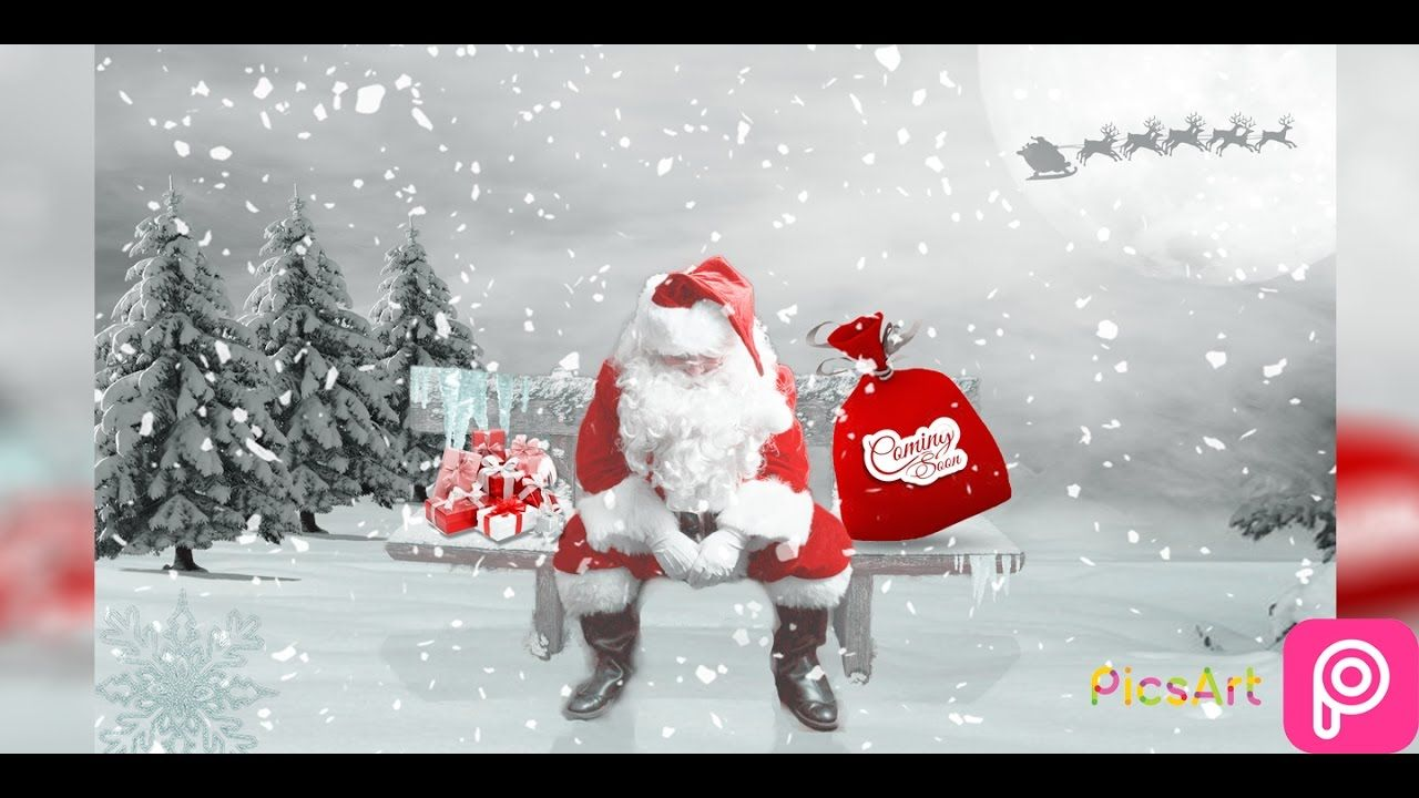 Christmas Background Picsart.Santa Claus Merry Christmas Manipulation Picsart Step By