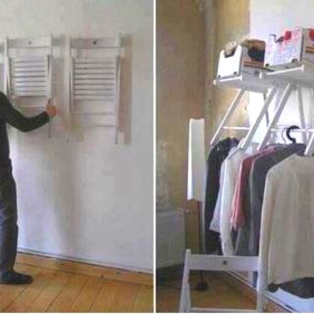 Chairs made into fold out closet!!! Awesome idea for the garage or laundry room, too