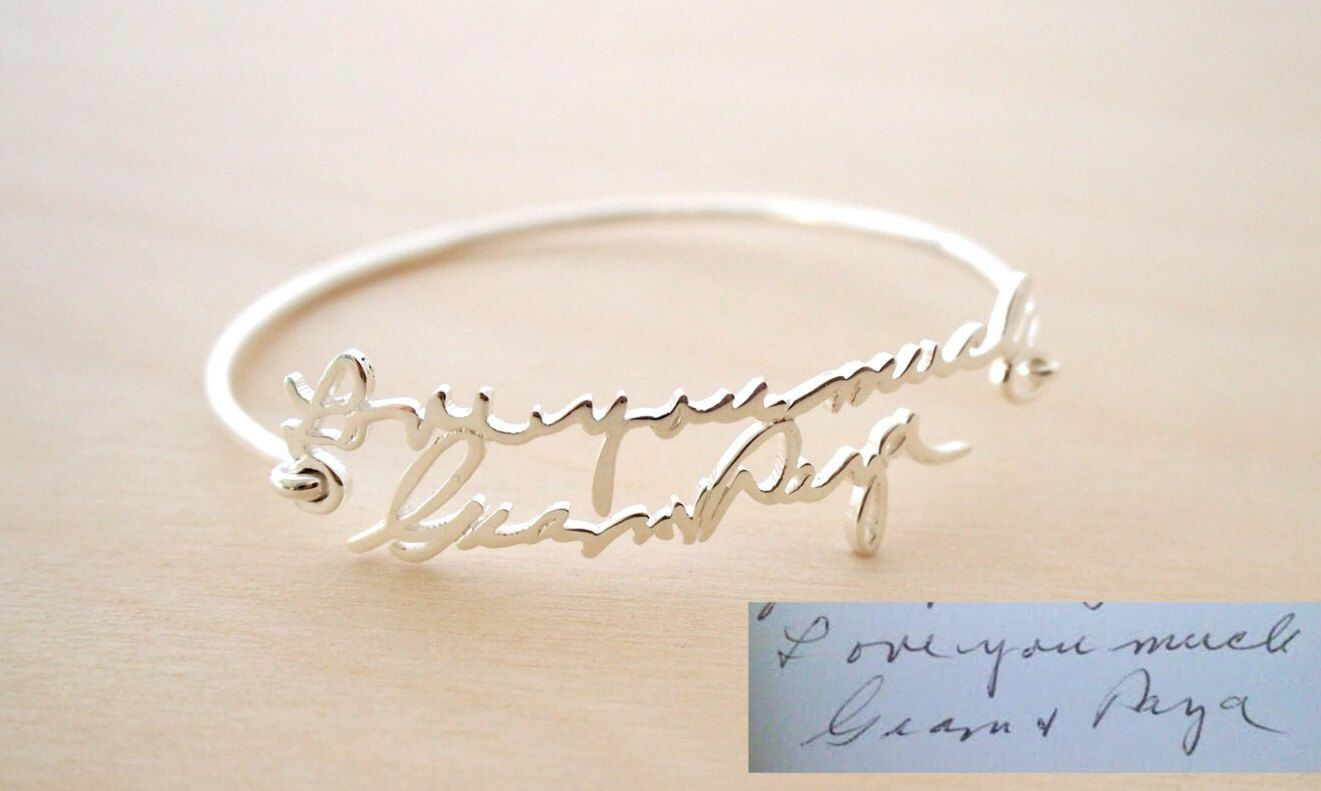SALE Memorial Signature Bangle-Personalized Handwriting Bangle-Handwriting bracelet-Signature bracelet-Bridesmaid Gift-MOTHER GIFT by AshleeArtis on Etsy https://www.etsy.com/listing/221303676/sale-memorial-signature-bangle