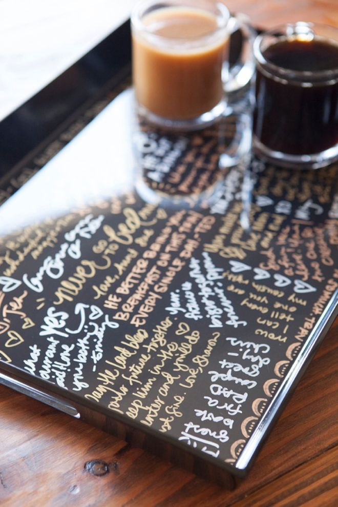 make your own resin coated guest book serving tray pinterest