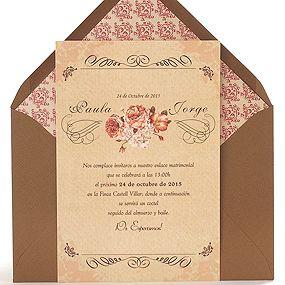 Invitación de boda original con diseño vintage con flores en colores intensos, sobre chocolate: Cassandra