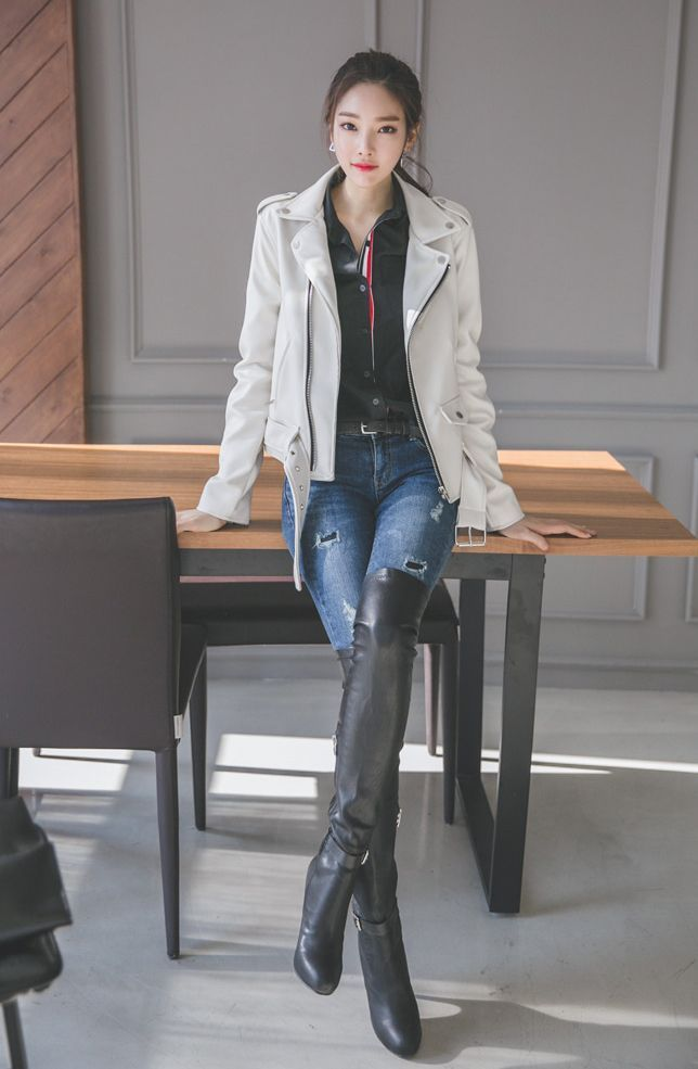 Asian girl in high boots